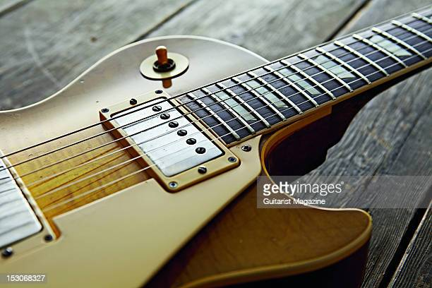 A closeup of a 1959 Gibson Les Paul Standard electric guitar owned by English rock guitarist Bernie Marsden famous for his work with the band...