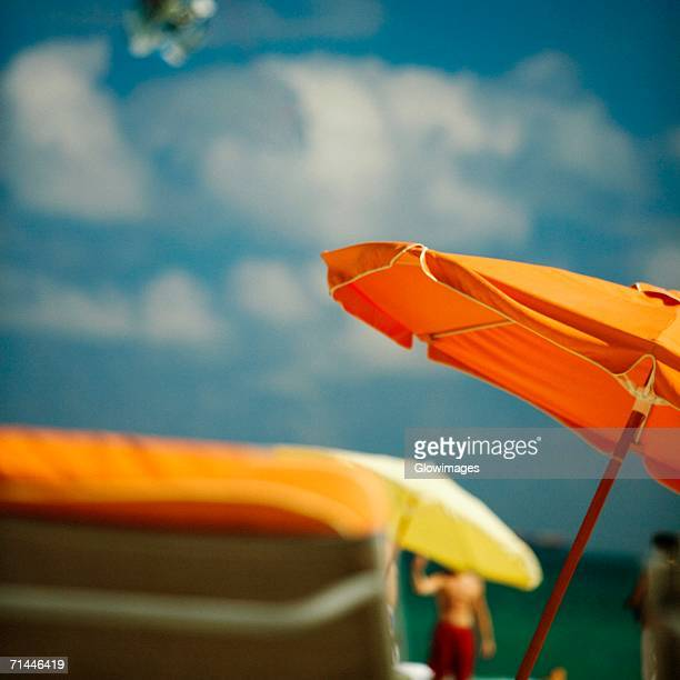 Close-up of a beach umbrella, Miami Beach, Miami, Florida, USA