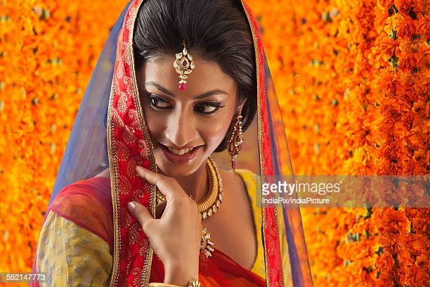 close-up of a beautiful bride smiling - dupatta stock pictures, royalty-free photos & images