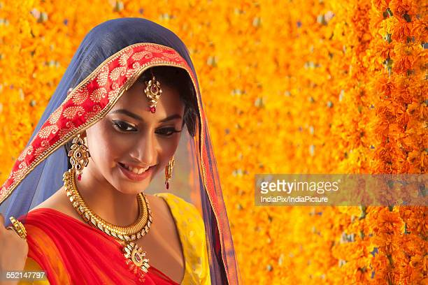 Close-up of a beautiful bride smiling