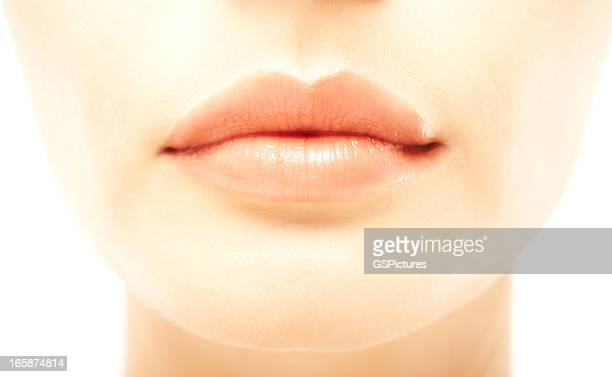 Closeup of a beautiful woman's full lips