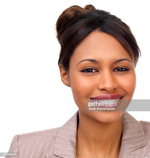 Close-up of a beautiful young businesswoman on white background