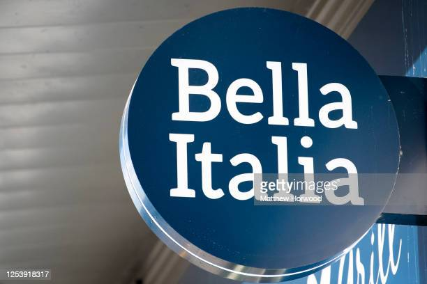 Close-up of a Bella Italia restaurant sign at Abbeywood Retail Park on July 02, 2020 in Bristol, United Kingdom. The Casual Dining Group, which owns...