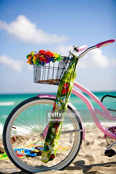Close-up of a bicycle on the beach, Miami, Florida, USA