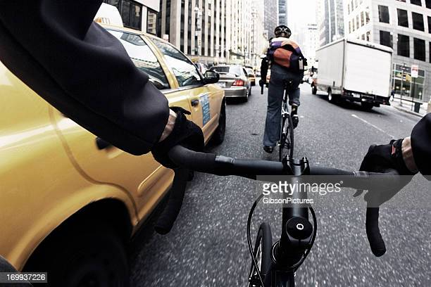 Close-up of a bike courier's handle bars in New York City