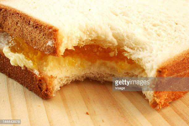 Close-up of a bitten sandwich