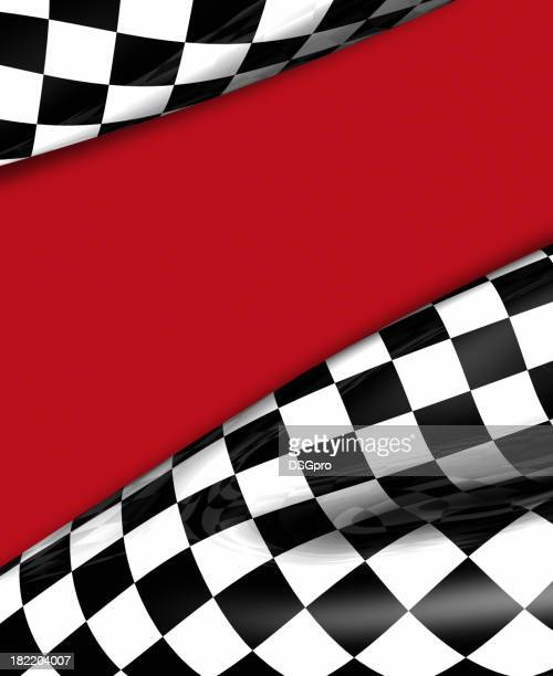 Close-up of a black and white checkered flag with red streak
