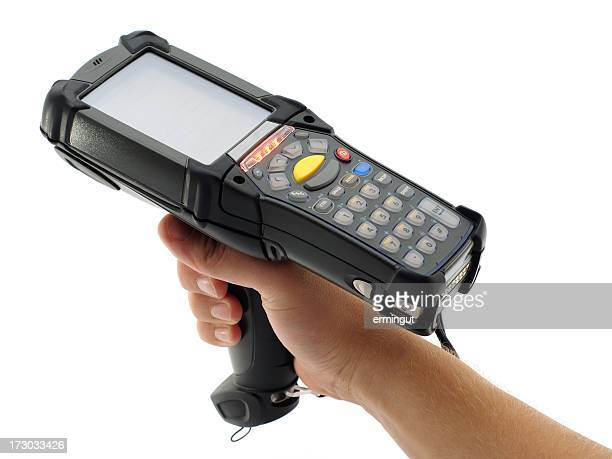Close-up of a black bar code scanner being held