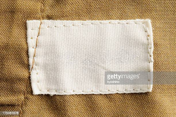 close-up of a blank white clothing label - cotton stock pictures, royalty-free photos & images