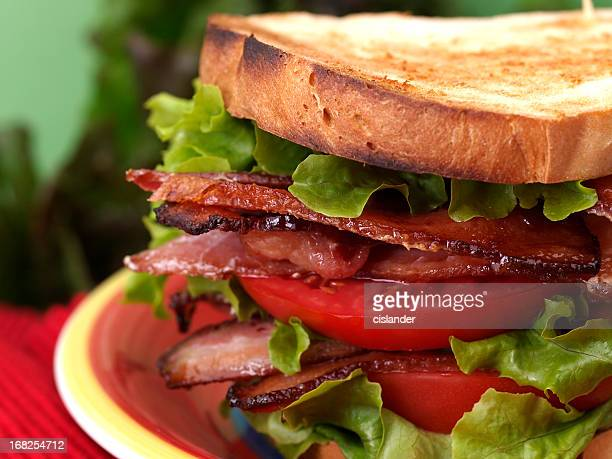 Close-up of a BLT sandwich on toast