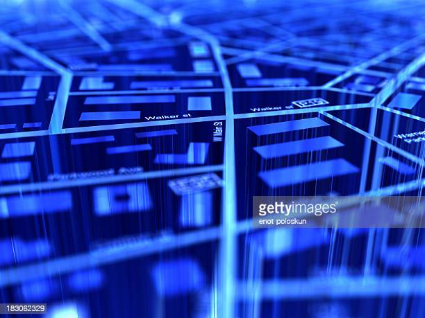 close-up of a blue digital gps map - gps map stock pictures, royalty-free photos & images