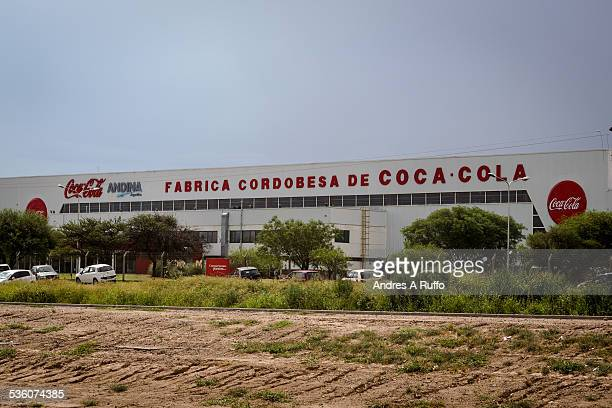 Closeup of a bottling factory EDASA part of the CocaCola Group on National Route 19 in vicinity of the city of Cordoba Argentina on the afternoon of...
