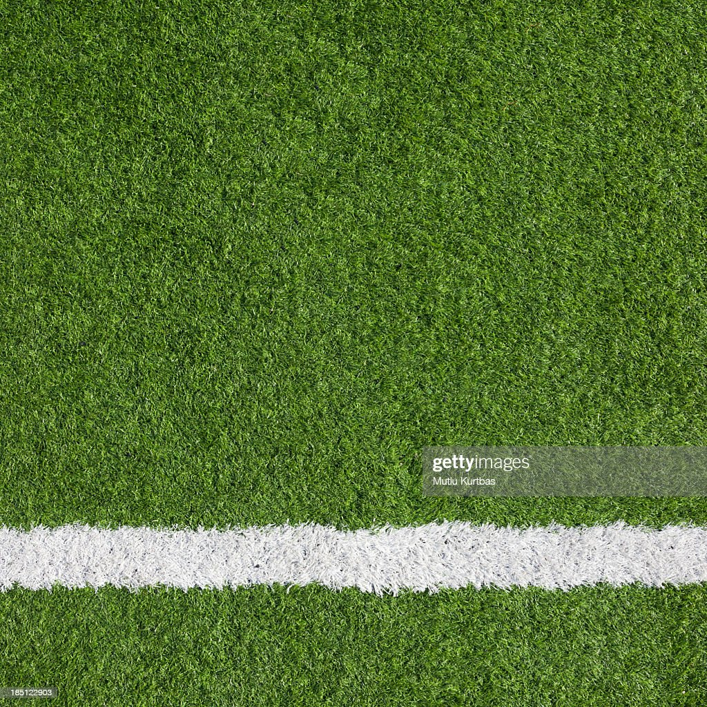 Close-up of a boundary line on a soccer field : Stock Photo