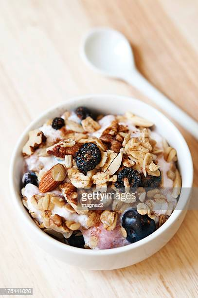 Close-up of a bowl of granola cereal with spoon