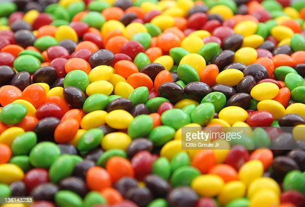 A closeup of a bowl of Skittles which are kept on the sidelines for running back Marshawn Lynch of the Seattle Seahawks during the game against the...