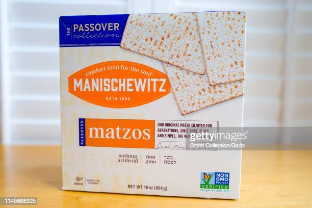 Closeup of a box of Kosher for Passover Matzos bread from Manischewitz traditionally served on the Passover holiday during the Seder meal in Judaism...