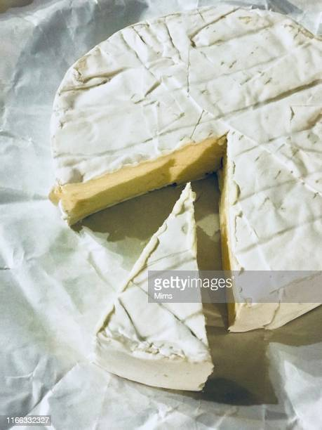 close-up of a brie cheese - brie stockfoto's en -beelden
