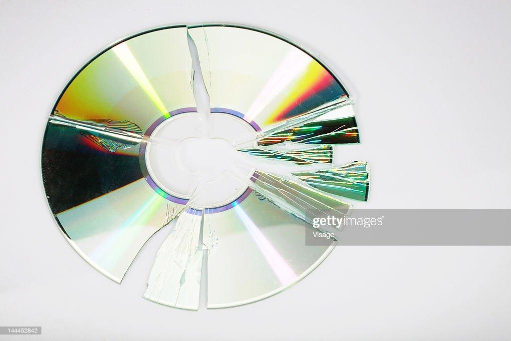 Close-up of a broken Compact disc : Stock Photo