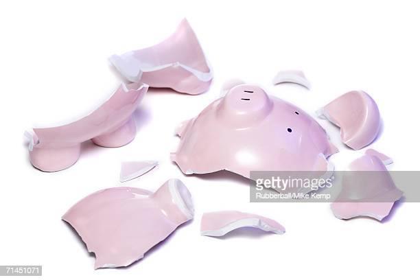 Close-up of a broken piggy bank