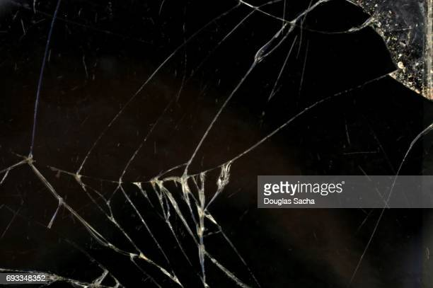 Close-up of a broken screen on a mobile device