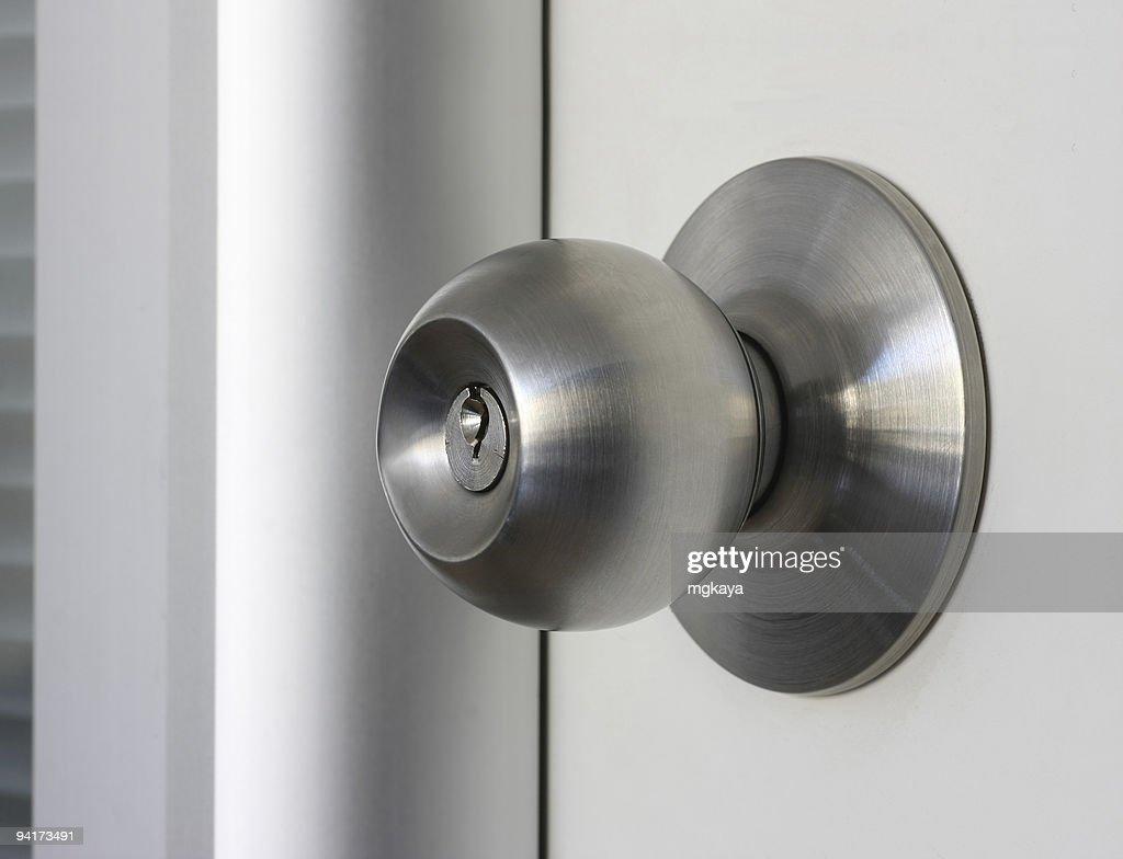 Close Up Of A Brushed Metal Door Knob : Stock Photo