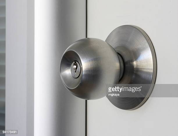 Close-up of a brushed metal door knob