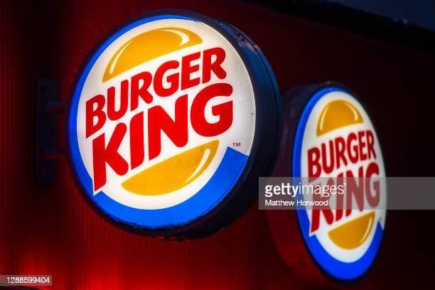 Close-up of a Burger King sign on November 16, 2020 in Cardiff, Wales. Many UK businesses are announcing job losses due to the effects of the...