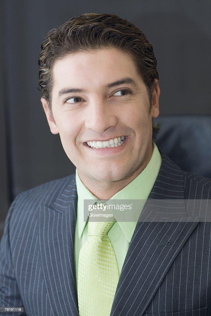 Close-up of a businessman smiling : Foto de stock