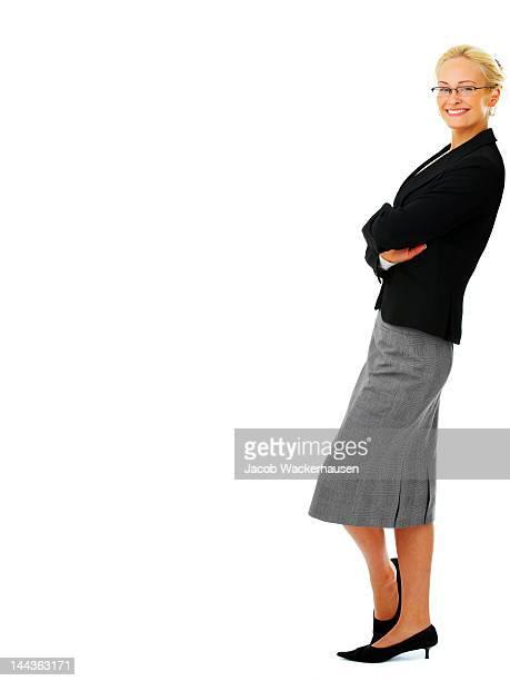 Nahaufnahme der Geschäftsfrau schiefen gegen etwas