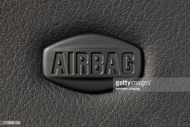 close-up of a car airbag's sign - airbag stock photos and pictures