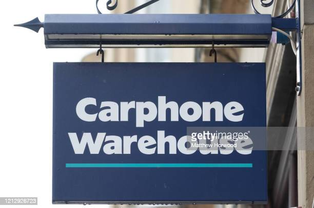 A closeup of a Carphone Warehouse store sign in central Cardiff on March 17 2020 in Cardiff Wales The phone retailer has announced the closure of all...