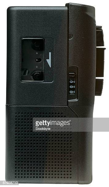 close-up of a cassette recorder