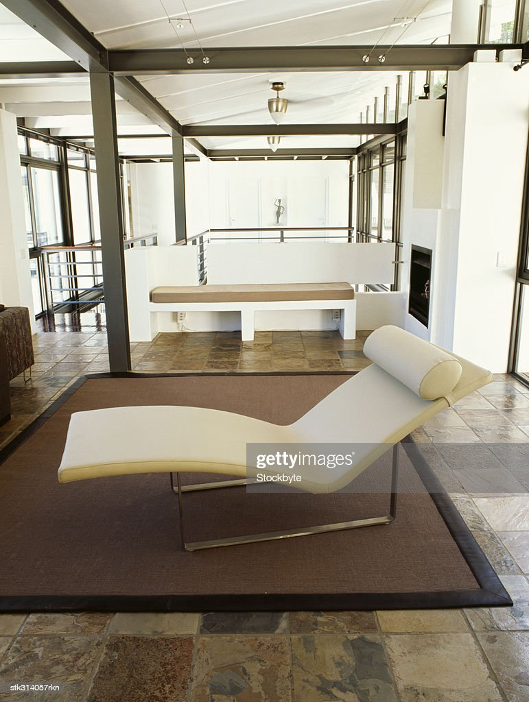 closeup of a chaise lounge in a living room stock photo getty images. Black Bedroom Furniture Sets. Home Design Ideas