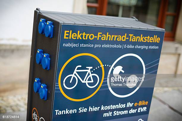 Closeup of a charging station for ebikes on October 02 2016 in Pirna Germany
