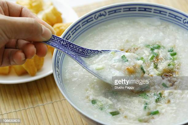 Close-up of a Chinese chicken rice porridge