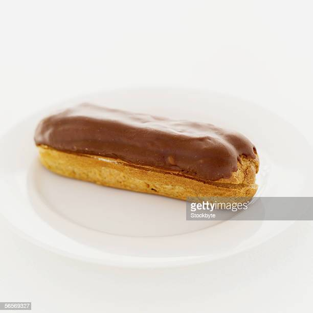 close-up of a chocolate eclair