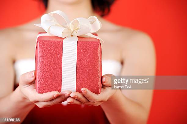 Close-up of a Christmas Gift Holding by a Woman