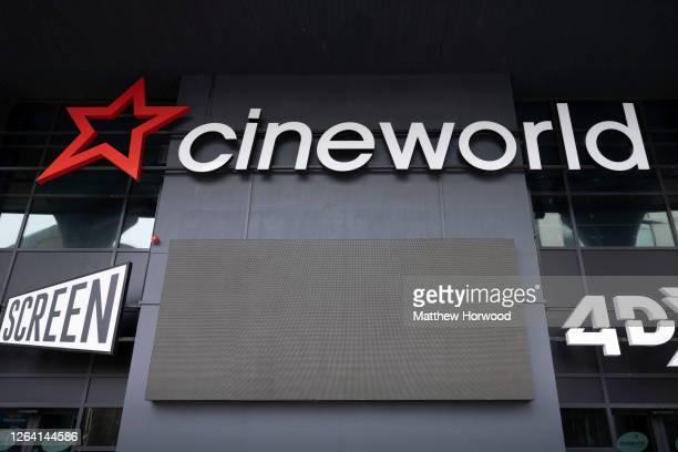 A closeup of a Cineworld sign on August 02 2020 in Cardiff Wales Many UK businesses are announcing job losses due to the effects of the coronavirus...