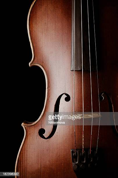 Close-up of a classic violin isolated on black background.