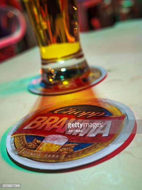 Close-up of a coaster in a Rio de Janeiro bar.