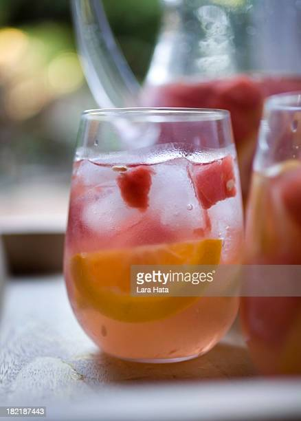 A closeup of a cold glass of freshly poured sangria