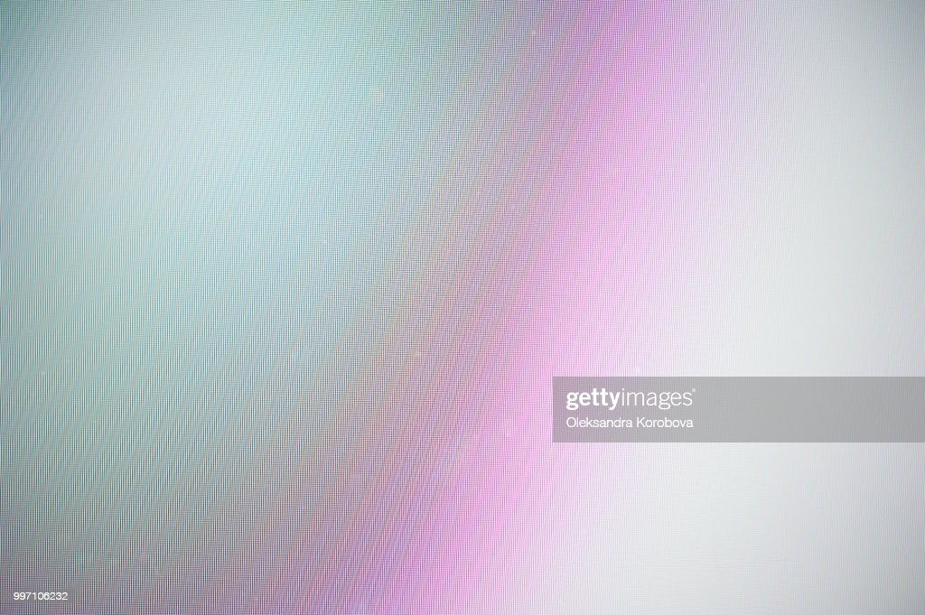 Close-up of a colorful moire pattern on a computer screen. : Stock Photo