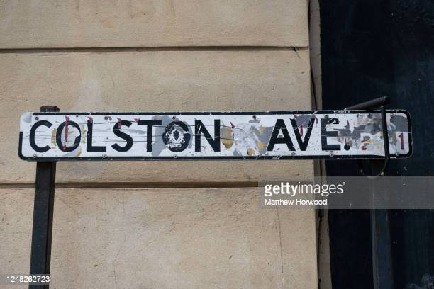 A closeup of a Colston Avenue sign named after Edward Colston on June 8 2020 in Bristol England Yesterday protesters in Bristol toppled the statue of...