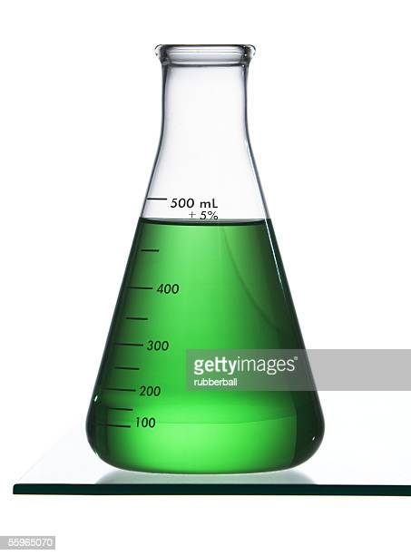 Close-up of a conical flask with green liquid