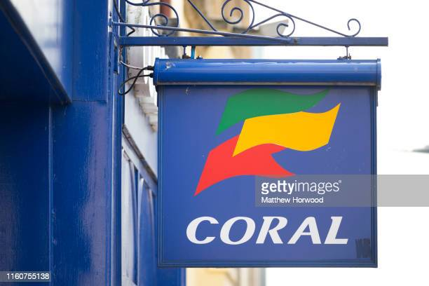 Close-up of a Coral bookmakers sign on July 7, 2019 in Cardiff, United Kingdom.
