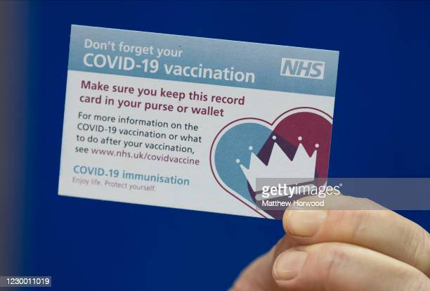 Close-up of a COVID-19 vaccination card at Cardiff and Vale Therapy Centre on December 8, 2020 in Cardiff, Wales. More than 50 hospitals across...