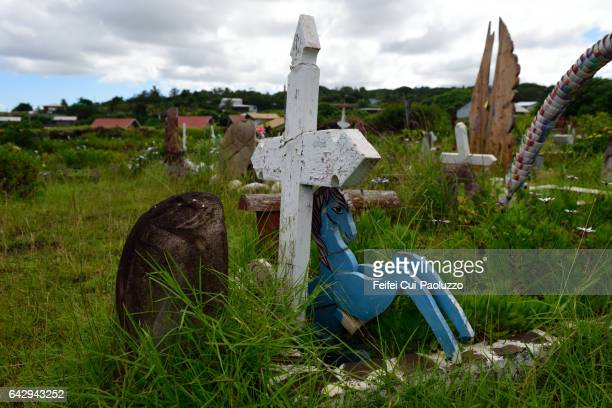 Close-up of a cross at cemetery of Hanga Roa of Easter Island in Chile