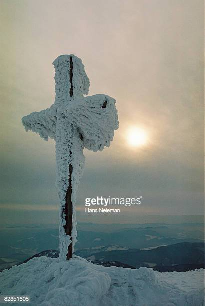 Close-up of a cross covered with snow, Goverla, Carpathian Mountain Range, Ukraine