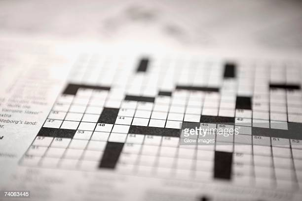 Close-up of a crossword puzzle