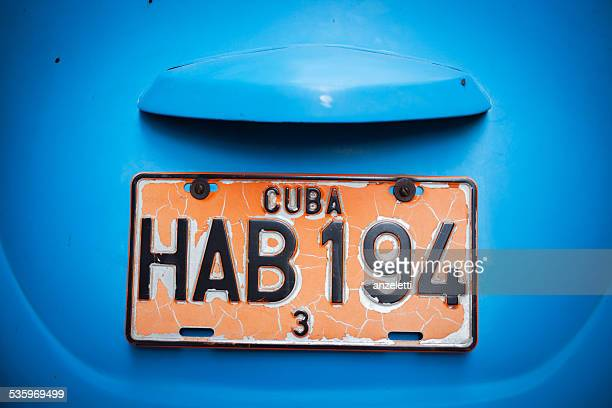 Close-up of a Cuban vehicle registration plate